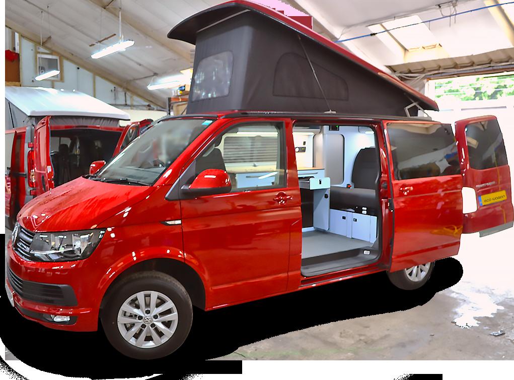 Red VW campervan hire for UK